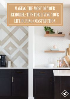 Where this divider wall is, used to be a corner pantry that separated the formal. Black Window Trims, Painted Interior Doors, Corner Pantry, Large Format Tile, The Tile Shop, Light Grey Walls, Ceramic Wall Tiles, Home Trends, Kitchen And Bath