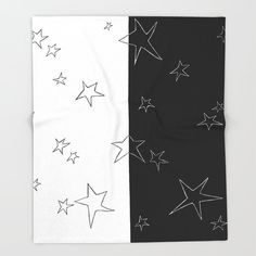 Stars - Black and White Throw Blanket by laec | Society6 White Throw Blanket, Throw Blankets, White Throws, Print Design, Black And White, Stars, Black White, Sterne, Type Design