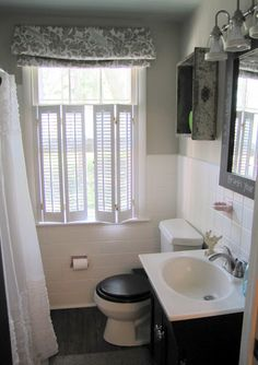 The Painted Home: { Smoke & Mirrors - A Bathroom Reveal }: painting tile Bathroom Windows, Bathroom Renos, Bathroom Ideas, Small Bathroom Window, Bathroom Window Treatments, Bathroom Grey, Bathroom Plants, Downstairs Bathroom, Bathroom Layout