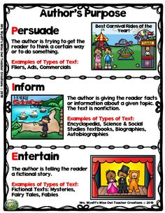 4 Worksheet Authors Purpose Task Cards Author s Purpose Anchor Chart Freebie from Mrs Wyatt s Wise Authors Purpose Activities, Reading Resources, Reading Strategies, Reading Comprehension, Comprehension Strategies, Classroom Resources, Learning Activities, Teaching Ideas, Third Grade Reading