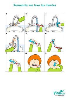 Secuencias de pictogramas para aprender a lavarse los dientes solo. Autonomía, higiene, gestos diarios.
