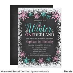 Purple and teal blue winter ONEderland birthday party invitations for a girl. 1st Birthday Cards, 1st Birthday Party Invitations, Pink Invitations, Printable Invitations, Birthday Fun, 1st Birthday Parties, Birthday Ideas, Chalkboard Invitation, Invites