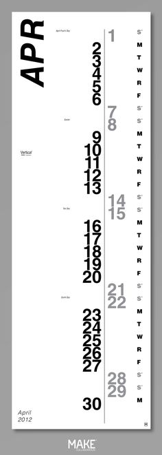 Vertical calendar. Awesome style and typography.