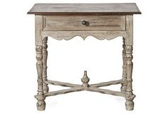 Adrienne Wood Side Table, Gray - would be gorgeous as a bedside table