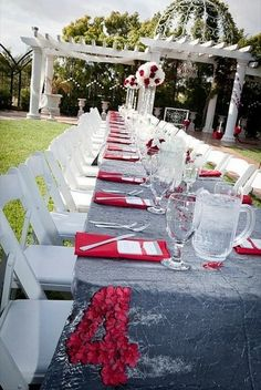 This red, black and grey wedding is probably one of the most ...