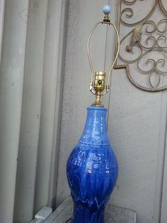 Castle Arch Pottery Blue Glaze Lamp