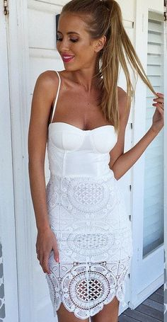 beautiful white lace dress.