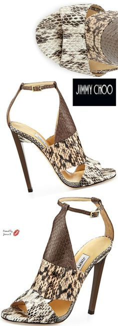 Jimmy Choo ~ Timbus Colorblock Snakeskin Sandals
