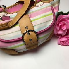 Coach Soho Twill Striped Pink Tote Bag 💗 Gently used, It does have some light stains, please see all photos and ask any questions if you have them! This bag is so pretty! It goes with everything. 💗 I have a bundle discount and hundreds of lovely listings in all different sizes! My closet is full of tops, dresses, scarves, jackets, coats, sweaters, skirts, handbags, shoes and formal wear. I do not accept offers on items $10 or less, please make a bundle if you want a further discount. 😍 I…