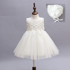(27.19$)  Know more  - high-grade lace white flower girls dresses bow princess evening tutu dress for 1 year birthday baby tulle girl baptism dress