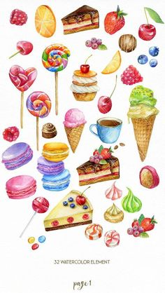 Watercolor sweets clipart, food candy lollipop ice cream cake macaroon clip art, Valentines seamless digital paper coffee sweet berry - Ira Drammeh - Beyond Binary Sweets Clipart, Food Clipart, Candy Clipart, Dessert Illustration, Illustration Noel, Free Vectors, Candy Art, Paper Candy, Cute Food Art