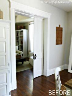 our vintage home love: Pocket Doors and Porcelain Door Knobs