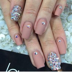 Nude matte nails with rhinestones Nail design