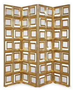 Modernist screen with up to fifty-six mirror panes intricately fitted into solid mahogany frames, creating a design that is bold and beautiful.
