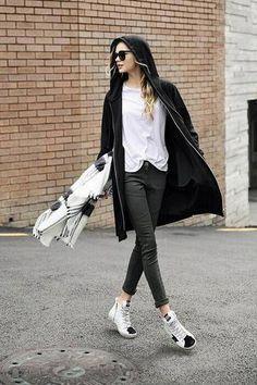 Black Longline Zip Front Plus Size Coat - US$27.95 -YOINS