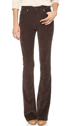 PAIGE High Rise Bell Canyon Jeans | Paige Denim high-rise corduroy pants with wide-leg styling. Single-button closure and zip fly. Fabric: Stretch corduroy. 97% cotton/3% elastane. Wash cold. Made in the USA. imported fabrics. Measurements |  Rise: 8in / 20.5cm Inseam: 35.25in / 89.5cm Leg opening: 19in / 48cm Measurements from size 28