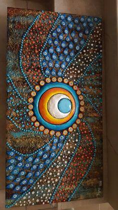 Nazar boncuğu Dot Painting, Stone Painting, Rasta Art, Indian Folk Art, Unusual Art, Egyptian Art, Mural Art, Mandala Art, Mosaic Art
