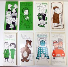 Mid Century Greeting Cards, Set of 8 Funny Greeting Cards, A Studio Card by Sunshine, Get Well Anniversary, Mixed Lot  Lot of 8 funny, cartoon greeting cards by Sunshine. Their Studio Card line. All have envelopes. The majority are Get Well, Thinking of You. There is also an