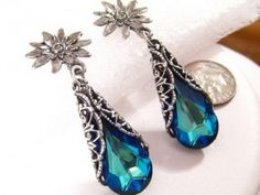 Blue Crystal Earrings Romantic Victorian Swarovski Crystal Bermuda Blue Bridal Earrings, Bridesmaids Gift, Prom Peacock Wedding Jewelry