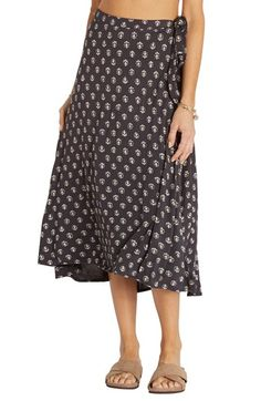 Free shipping and returns on Billabong Wild Side Print Wrap Midi Skirt at Nordstrom.com. A sweet block print adds vintage style to a breezy wrap skirt cut with a flattering midi-length hem.