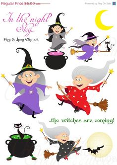60% OFF SALE CACKLING Witches  - Clip art  set in premium quality 300 dpi, Png and Jpeg files.