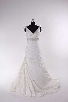 Fashionable v-neck empire waist satin wedding dress