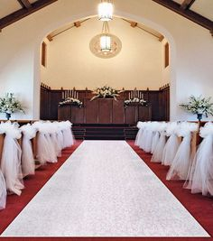 Wedding Burlap Aisle Runner With Scalloped Ivory French Lace