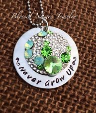 """Hand Stamped Stainless Steel Disney's Mickey Rhinestone Necklace """"Never Grow up"""""""