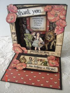 This was my entry for Graphic 45's November Challenge 2012. I combined a ''tunnel book'' technique with an ''easel card'' to create this very dimensional card.