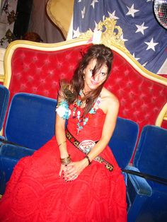 jolie on JuNK-o-RAMA prom night in the JUNK GYPSY tent.. . americana all the way. . . the beauty of the red, white and blue!!! http://gypsyville.com/
