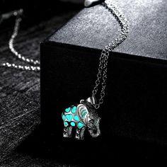 Elephant Locket Luminous Glow In The Dark Necklace