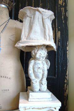 cherub lamp with burlap shade (etsy)