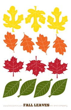 Fall Leaves Printables from Kiki Comin blog. We made dangling name tags out of these for teacher gifts and then used the rest to write what we are thankful for and we hung them on a garland. The possibilities are endless.