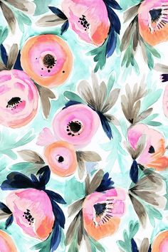 Summer Blooms by crystal_walen. Pink and orange watercolor flowers with green and brown leaves on fabric, wallpaper and gift wrap. Beautiful hand painted flowers in a painterly style with a turquoise background. Cute Backgrounds, Cute Wallpapers, Wallpaper Backgrounds, Iphone Wallpaper, Fabric Wallpaper, Room Wallpaper, Watercolor Flowers, Watercolor Art, Floral Watercolor Background