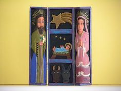 Nativity set, hand carved made in Venezuela