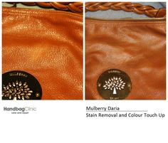 We removed the ink on this Mulberry using ink remover products but this only removed the ink on the surface of the leather. To remove the rest we had to use a degreaser, as this soaks into the leather. We then applied colour over the slight ink mark that was left