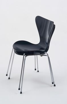 Chair Series 7 (3107) Arne Jacobsen (Danish, 1902–1971)  c. 1952. Chrome-plated steel tubing and molded plywood with black lacquer, Each: 30 1/4 x 18 x 20 (76.8 x 45.7 x 50.8 cm). Manufactured by Fritz Hansen. Gift of Mr. Jacques and Mrs. Anna B. Dutka