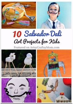 Salvador Dali was no ordinary person, & his art proves it! Teach kids to think o… Salvador Dali was no ordinary person, & his art proves it! Teach kids to think outside the box with these 10 Surrealist Salvador Dali Art Projects for Kids. Preschool Art Projects, Art Activities, Projects For Kids, Family Art Projects, Kids Art Class, Art Lessons For Kids, Art For Kids, Salvador Dali Gemälde, Salvador Dali Paintings
