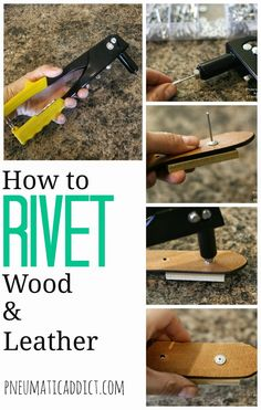 to Rivet Wood and/or Leather How to Rivet Wood and/or Leather. Good to know for DIY furniture building or crafts!How to Rivet Wood and/or Leather. Good to know for DIY furniture building or crafts! Diy Leather Projects, Leather Diy Crafts, Leather Crafting, Handmade Leather, Leather Craft Tools, Custom Leather, Leather Rivets, Leather Cuffs, Leather Repair