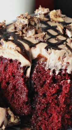 Nutella Red Velvet Poke Cake