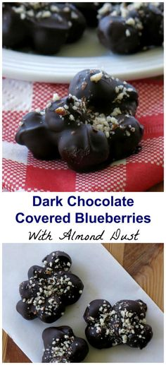 Dark Chocolate Covered Blueberries dusted with Almonds - easy, healthy, small batch recipe with just 3 ingredients!