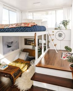 A tiny house boat that floats on the water, utilizing a unique lofted space House Boat, Decor, House Design, Tiny Spaces, Interior, Home, House Inspiration, House Interior, Tiny House Design