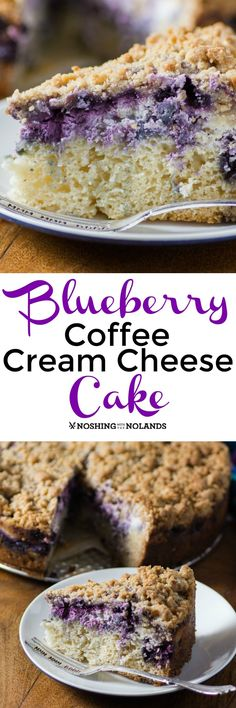 Blueberry Coffee Cream Cheese Cake from Noshing With The Nolands is a gorgeous dessert that is the perfect marriage of coffee cake and cheesecake!
