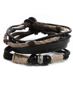 Mens Rustic Bracelet Set Brown Set of 3 Boho rugged and rustic styles Leather, jute, mixed materials Gift Boxed