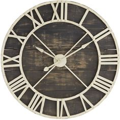 Pier 1 Imports Black Rustic Wall Clock (26410 RSD) ❤ liked on Polyvore featuring home, home decor, clocks, black, pier 1 imports, rustic home decor, black home decor, black and white home decor and roman numeral wall clock