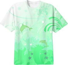 Dolphins swimming all over print in mint green tshirt.
