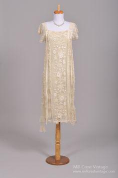 1920's Champagne Lace & Ribbon Flapper Vintage Wedding Dress : Mill Crest Vintage