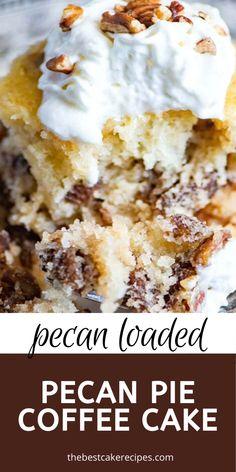Pecan Desserts, Pecan Recipes, Delicious Desserts, Cake Recipes, Dessert Recipes, Brunch Recipes, Pecan Pie Cake, Easy Pecan Pie, Homemade Pecan Pie