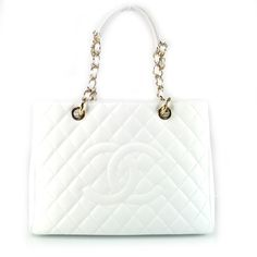 Chanel Cavier Grand Shopping Tote GST White