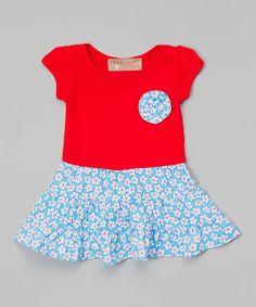 Look at this #zulilyfind! Red & Blue Floral Dress - Toddler & Girls by Lele Vintage #zulilyfinds